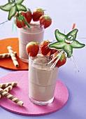 Strawberry and chocolate milkshake