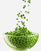Peas falling into water in glass bowl