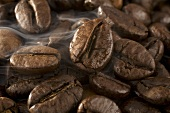 Steaming, roasted coffee beans (close-up)