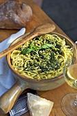 Spaghetti al pesto (Spaghetti with basil pesto, Italy)