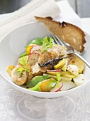 Thuringian sausage salad with white turnips