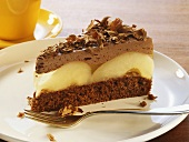 Piece of chocolate cake with pears