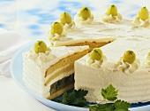 Gooseberry cream cake, a piece cut