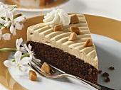 Piece of chocolate caramel cake
