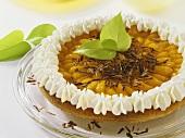 Mandarin cake with orange liqueur, cream & grated chocolate