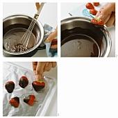 Making chocolate-dipped strawberries