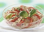 Mozzarella and tomato gratin with basil