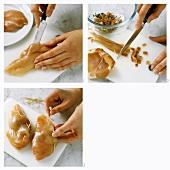 Preparing chicken breast with herb stuffing