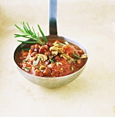 Tomato sauce with bacon, mushrooms and rosemary on ladle