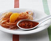 Glass noodles with sweet and spicy tomato sauce