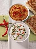 Chick-pea dip and Roquefort & pistachio dip