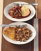 Zürcher Geschnetzeltes (veal dish) & Filet goulash stroganoff