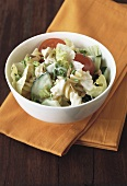 Pasta salad with vegetables, yoghurt dressing & sunflower seeds