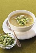 Polenta soup with lettuce