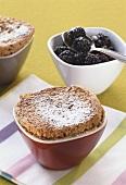 Millet soufflé with blackberries