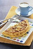 Cheese omelette and cup of coffee
