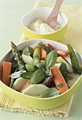 Spring vegetables with basil