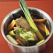 Meat broth with soup vegetables