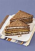 Multi-layered whole-grain soft cheese sandwich