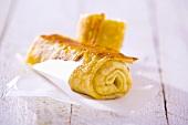 Pancake rolls on paper
