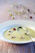 Potato soup with daisies