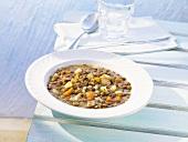Lentil and mushroom soup