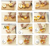 Making melon and orange salad