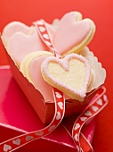 Pink heart-shaped biscuits to give as a gift