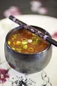 Sweet and sour sauce with spring onions (Asia)