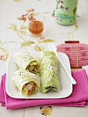 Spring rolls with surimi filling