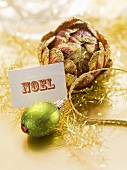 Christmas tree ornament with Christmas card