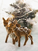 Deer figures in snow (Christmas decoration)