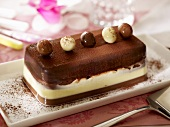 Three-coloured chocolate terrine