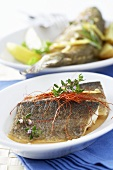Steamed trout with saffron threads