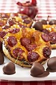 Cherry tart and chocolate-coated cherries