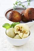 Boiled potato dumplings and fried potato dumplings