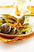 Shellfish in vegetable stock
