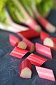 Sticks of rhubarb cut into pieces