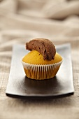 Muffin with chocolate topping