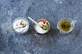 Spicy yoghurt, raita and spiced oil