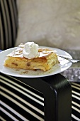 Apple strudel with cream for Christmas