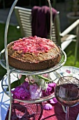 Rhubarb cake on tiered stand