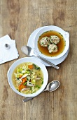 Bacon dumpling soup and chicken & vegetable soup