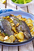 Fried trout with lemon and fried potatoes