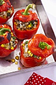Peppers stuffed with rice, sweetcorn and mushrooms