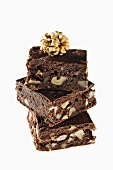 Walnut brownies, stacked
