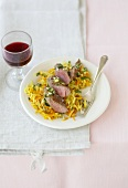 Lamb fillet with grated vegetables