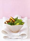 Saffron chicken on steamed vegetables