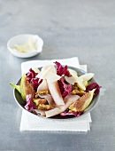 Radicchio, pear and fig salad with sliced turkey breast