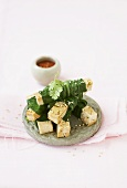 Tofu and pak choi wraps with chilli dip